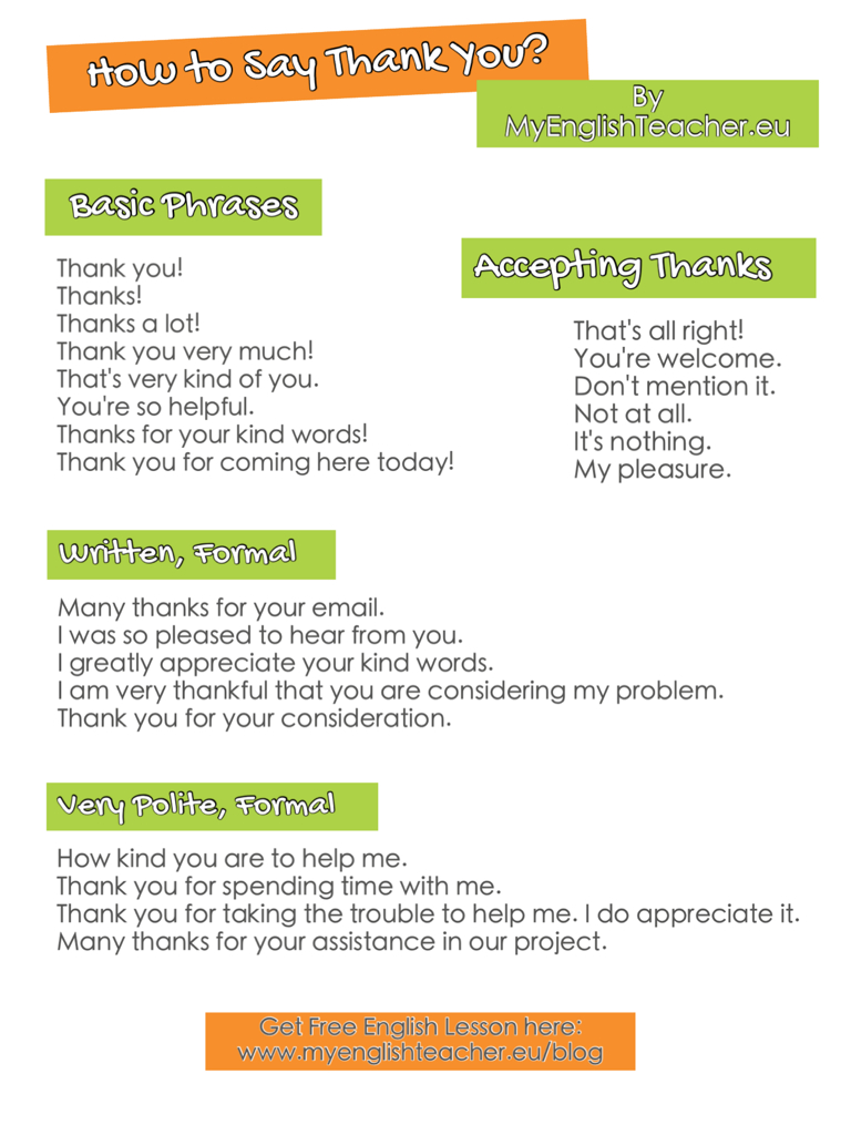 How to say thank you ideas