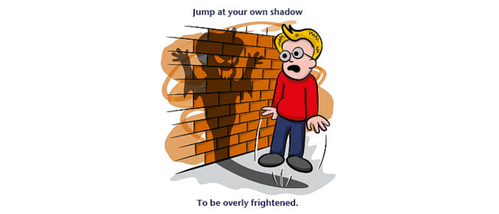jump at your own shadow idiom
