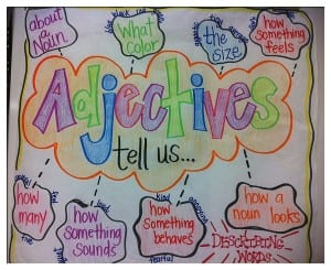 Adjectives tell us...