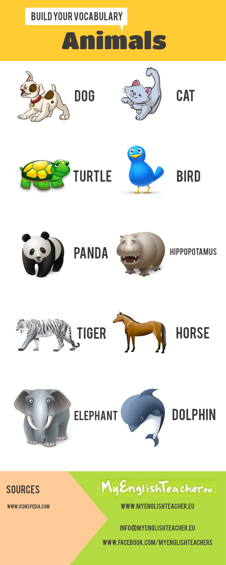 Animals [Infographic] - English Vocabulary for Kids