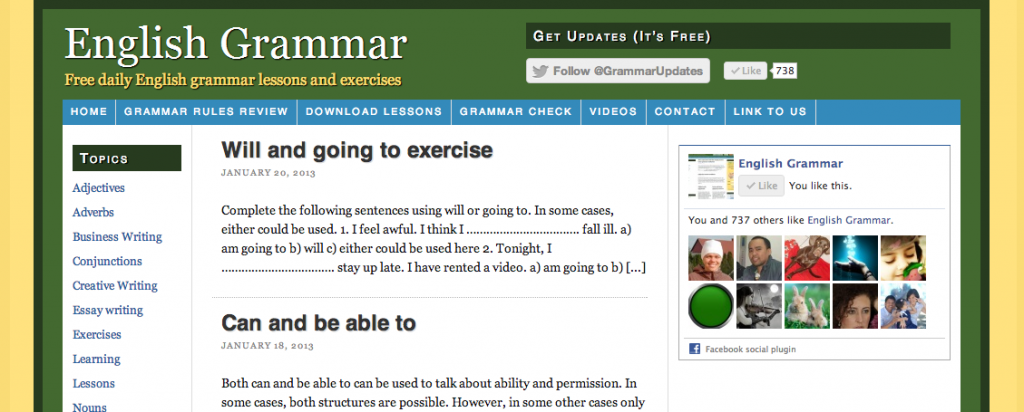 EnglishGrammar.org – Exercise test and check your grammar online