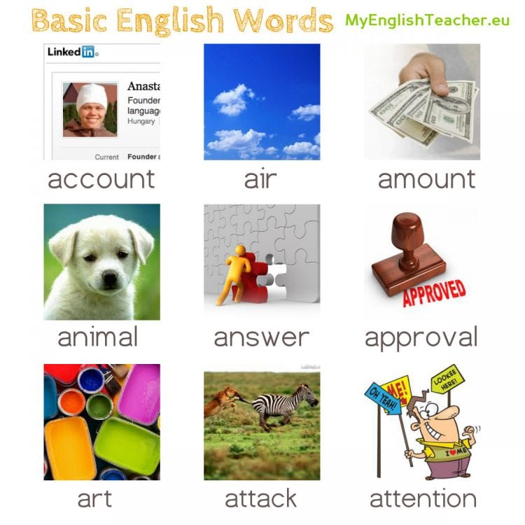 Basic English Words Starting With Letter A