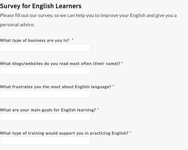 survey for English language learners