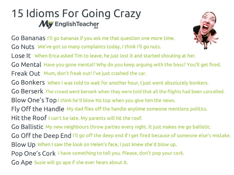Idioms for Going Crazy