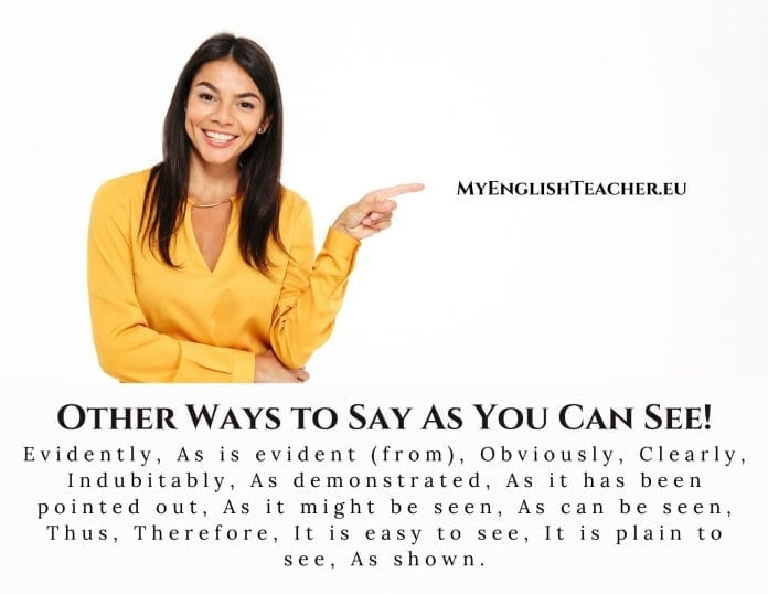 Other Ways to Say As You Can See!