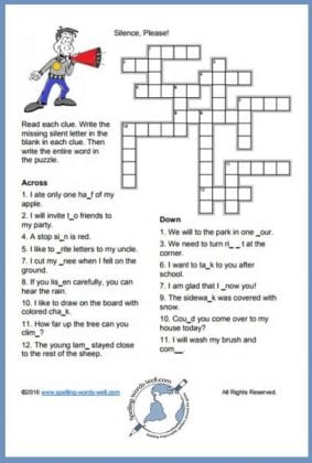 silent letters crossword 2