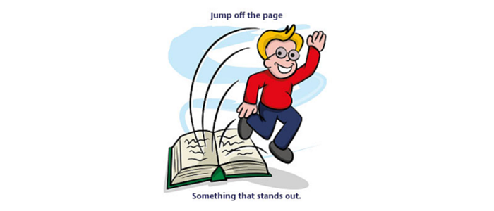 jump off the page idiom