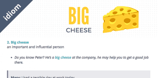 big cheese idiom examples