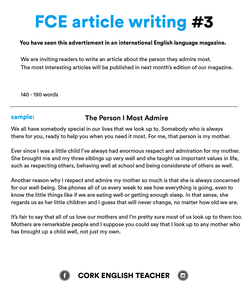 Fce Exam Writing Samples And Essay Examples  Myenglishteachereu Blog Fce Exam Writing Samples  The Person I Most Admire