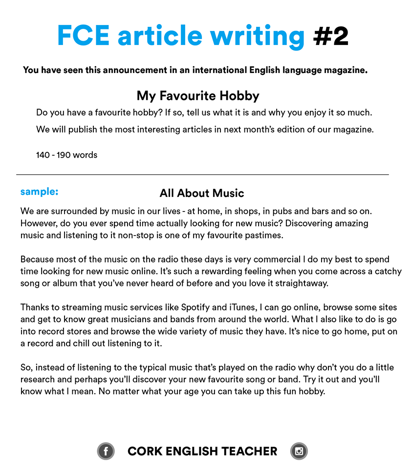fce exam writing samples and essay examples  myenglishteachereu blog fce exam writing samples  my favourite hobby