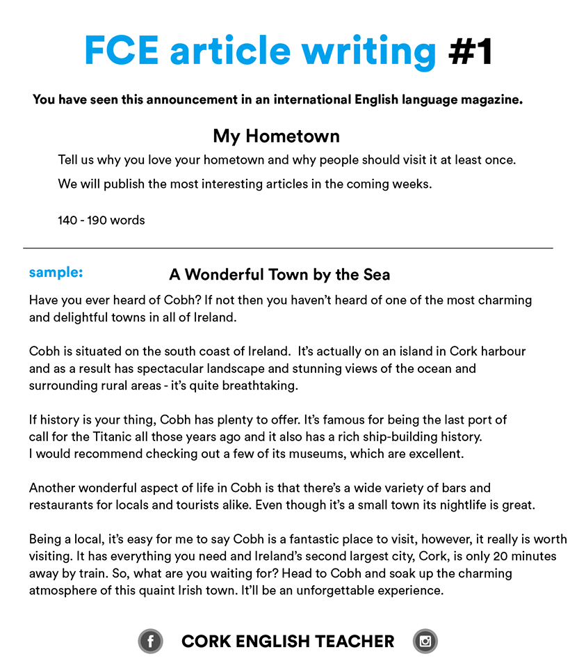 FCE Exam Writing Samples - my hometown