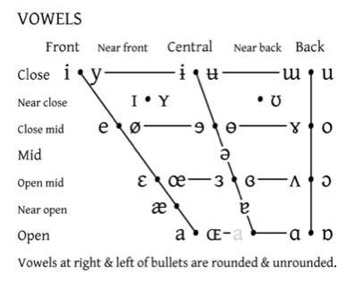 Phonetics consonants vowels diphthongs ipa chart definition and think of the following chart as a diagram of the mouth facing left sideways where the position of the tongue traces along the different points to produce ccuart Images