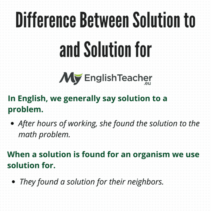 Difference Between Solution to and Solution for