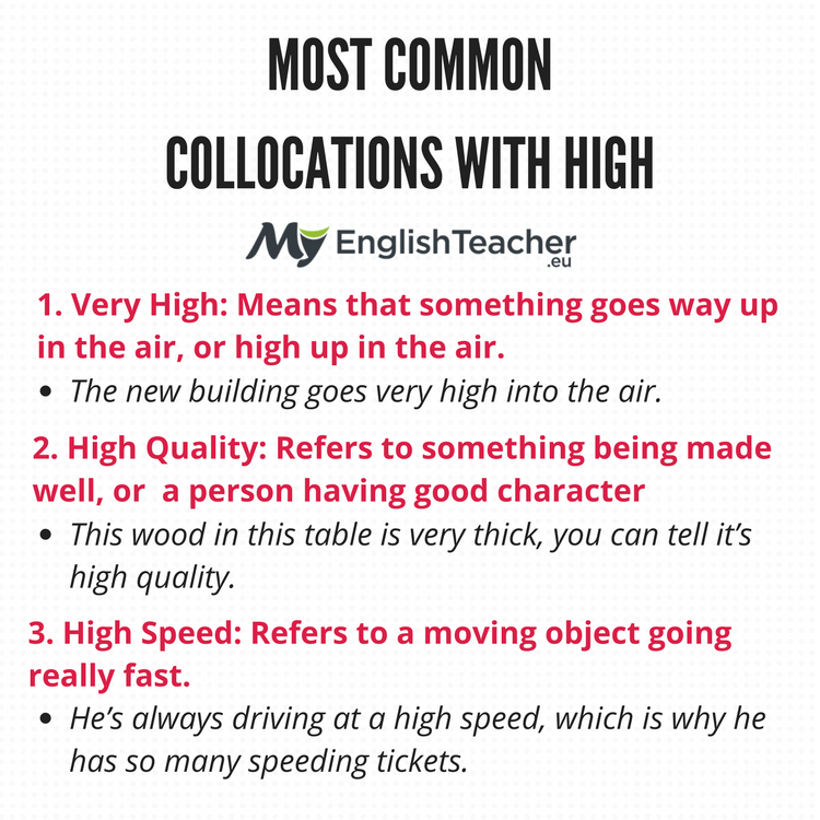 MOST COMMON COLLOCATIONS WITH HIGH