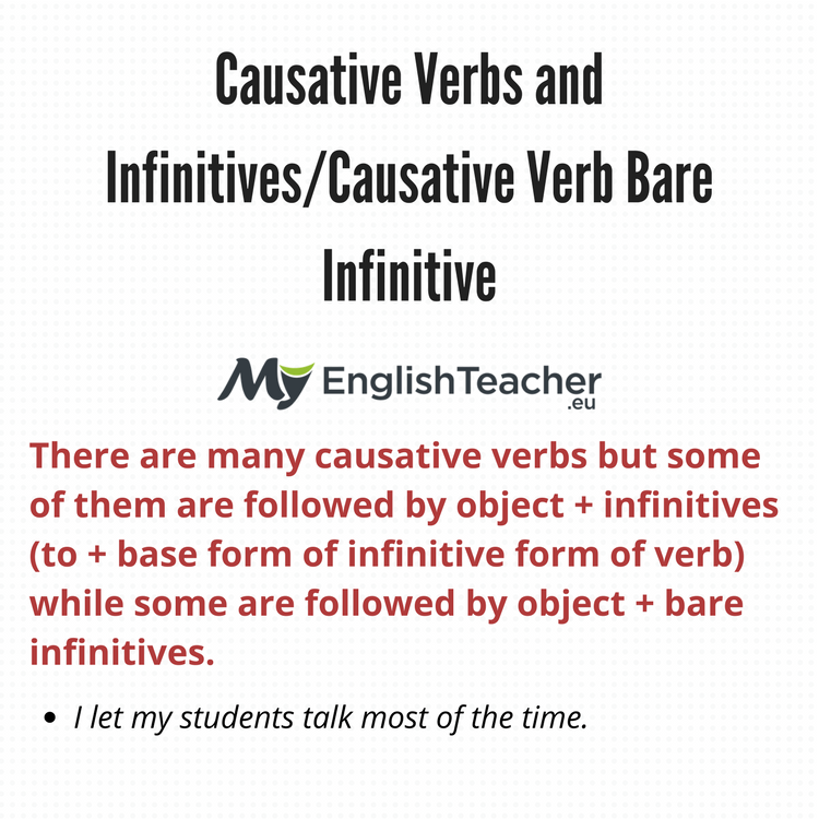 Causative Verbs And Infinitivescausative Verb Bare Infinitive