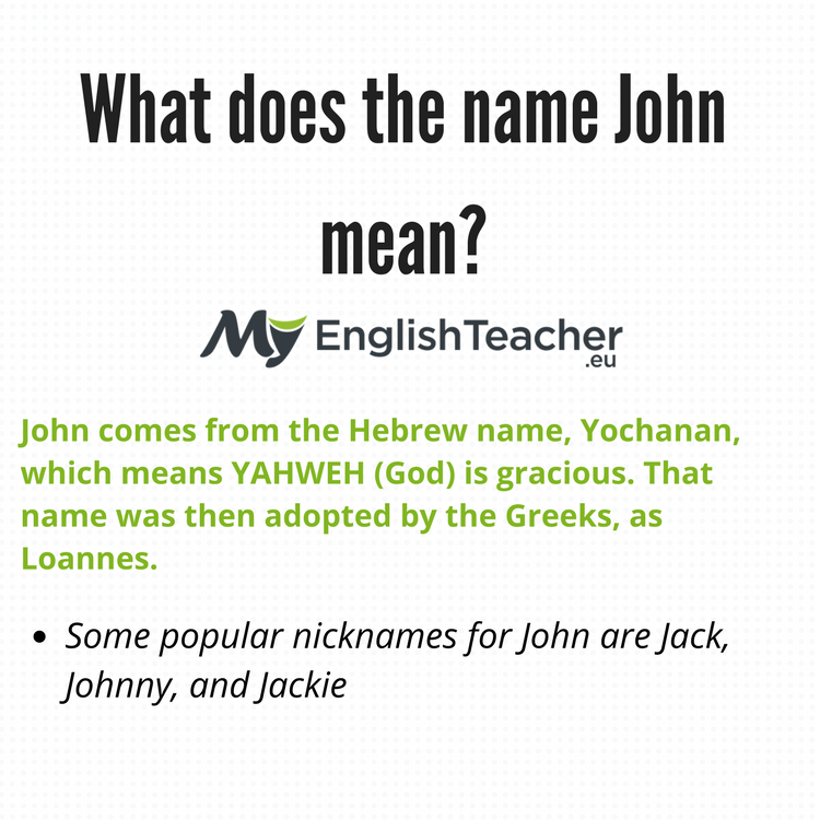 What does the name John mean? - MyEnglishTeacher eu