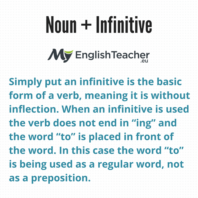 37 Most Common Noun Infinitive Collocations