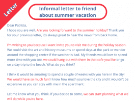 a letter to a friend about summer vacation in french