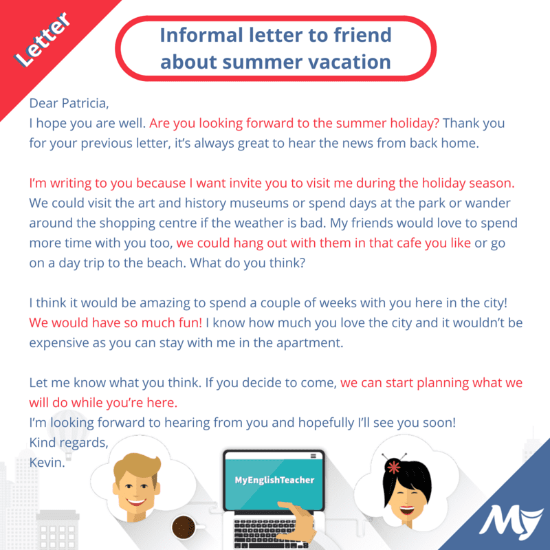 Informal Letter to a Friend Inviting for Summer Vacation in