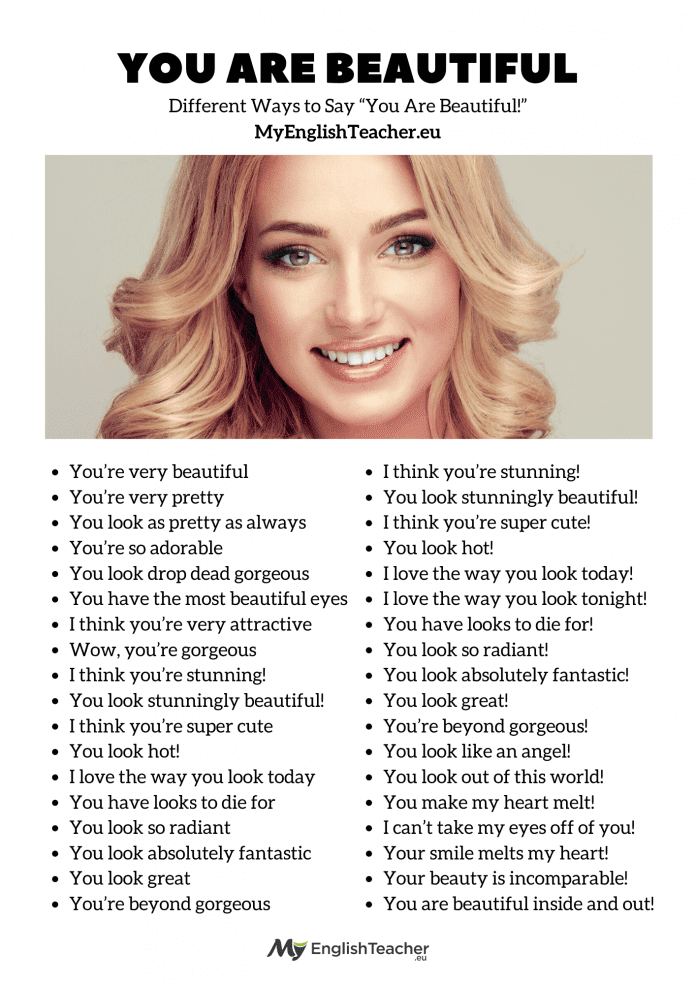 Ways to say You Are Beautiful
