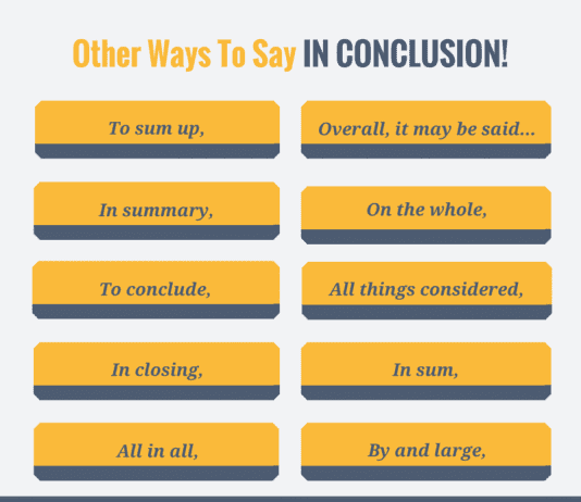 other ways to say in conclusion