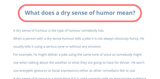 What is a dry sense of humor mean