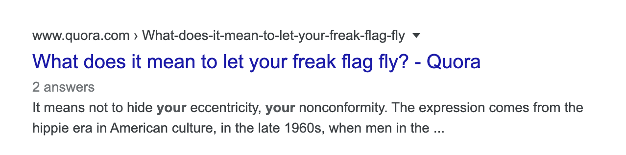 let your freak flag fly on google