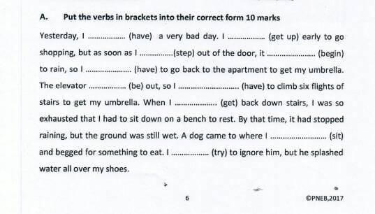put the verbs in brackets into their correct form