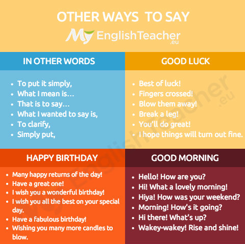 other ways to say in other words, good luck, good morning, happy birthday
