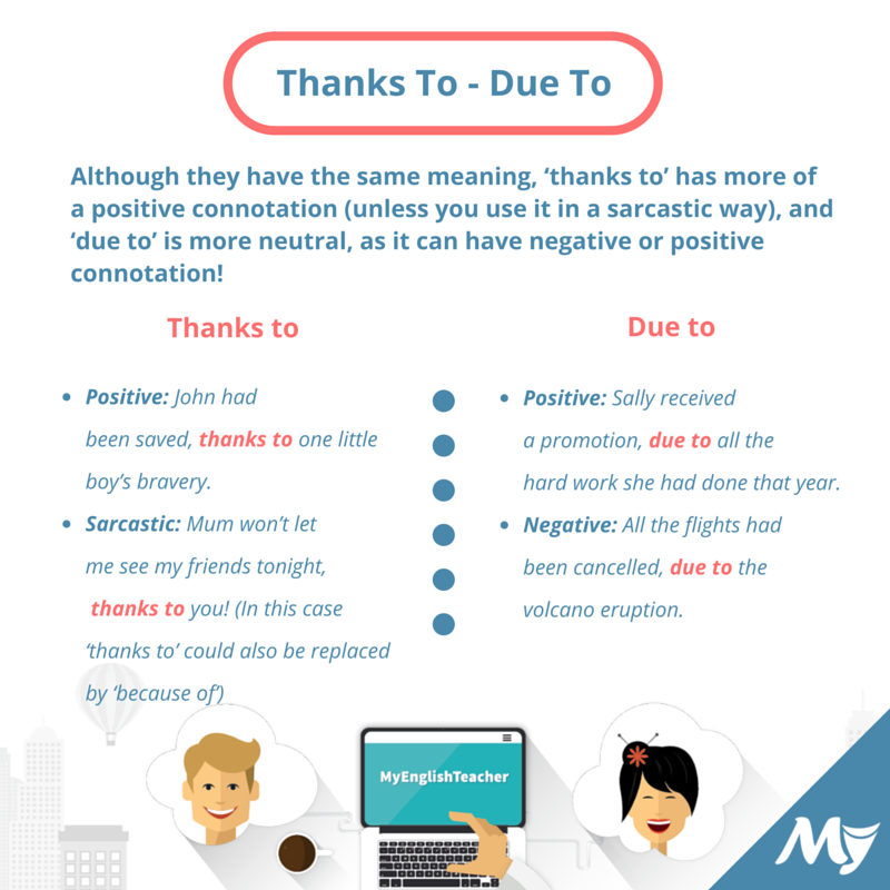 What Is The Difference Between Due To And Thanks To