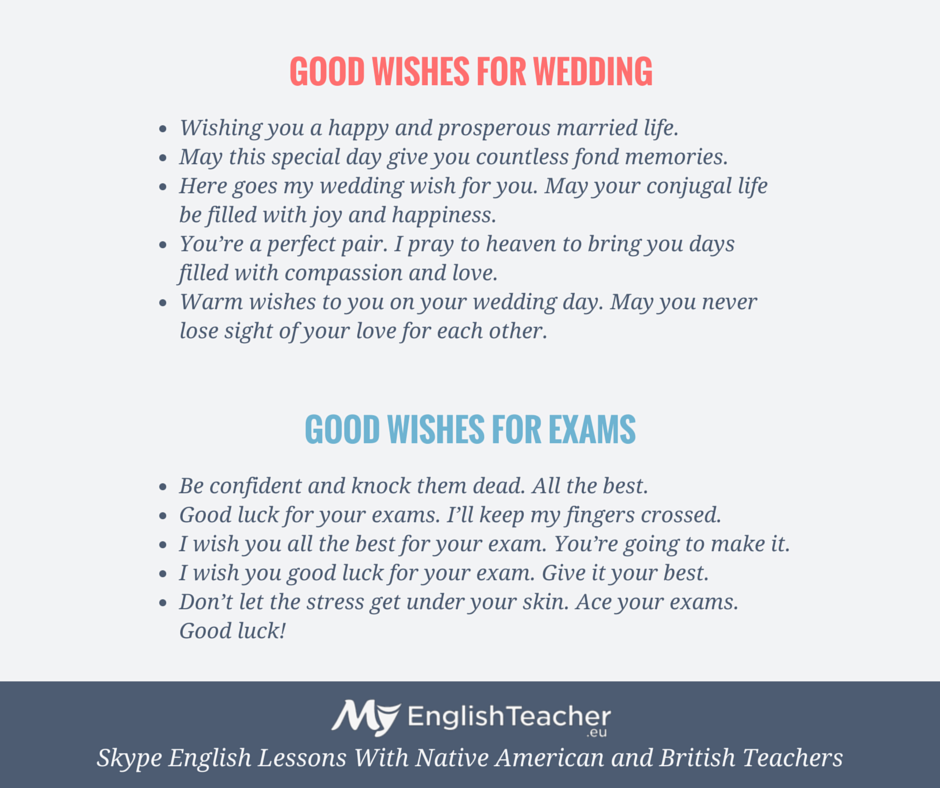 good wishes for weddings and exams