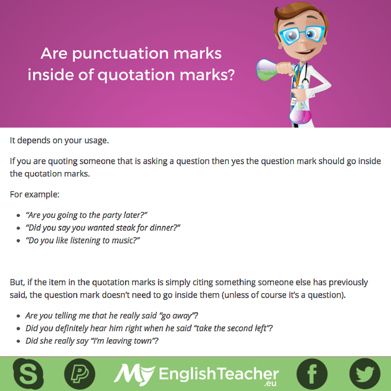are punctuation marks inside of quotation marks